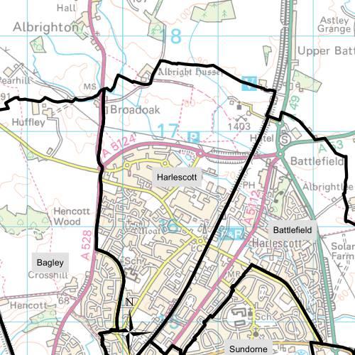 Harlescott Ward Map