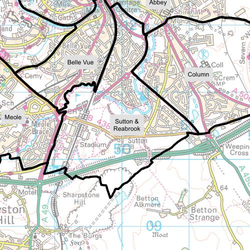 Sutton and Reabrook Ward Map